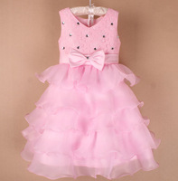 retail 2015 New Girls Dress Pink Top Grade Layered Girl Clothes Princess Party Wear Children Clothes free shipping Y-Dec10