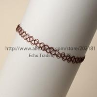 Free Shipping 500pcs/lot Vintage Stretch Retro Henna Elastic boho Tattoo Choker Necklace tattoo