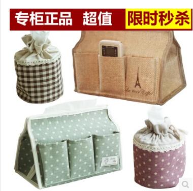 Cotton and linen cloth tissue box fashion creative napkin box cute fabric villatic paper storage box(China (Mainland))