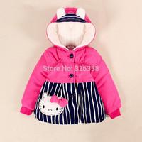 3Pcs/Lot Little Baby Girls Hello Kitty Cotton-Padded Jacket/Kids Striped Parkas/Children Coat Winter Warm Bowknot Coat ,0-2Y