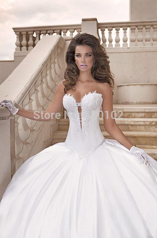 2015 Modern Victorian Ball Gown Sweetheart Appliqued Bodice Ruffle Satin Floor-length Wedding Dress(China (Mainland))