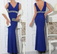 new arrival elegant blue crystal beads waist belt long mermaid evening dresses backless floor length women dress for prom party