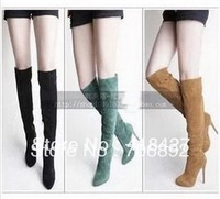 12cm Sexy high heels boots over the knee high boot brand women pumps brown/black/grey/red