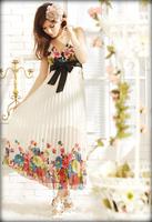 Women's print chiffon elegant V-neck tuck irregular one piece dress A11000