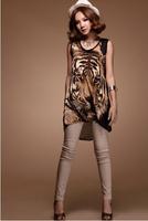 Fresh casual summer medium-long slim hip t-shirt tiger print elastic wire patchwork gauze - A12526