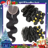 Brazilian virgin hair with closure 3pcs brazilian body wave with 1pc silk base closure top lace closure with bundles Ali moda