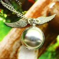 Free shipping 2014 wholesale Harry Potter golden snitch quartz analog for ladies best Jewelry clock pendant