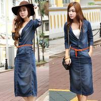 Blue Europe Women's Retro Denim Jean 1/2 Sleeve Long Maxi Dress With Waistband Free shipping 9333