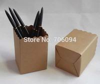 Size 7x7x10cm creative office items environmental pen container  Kraft brown pen holder 50pcs/lot
