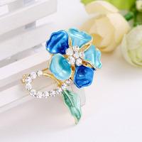 Min order is $10(mix order)Fashion New Gold Enamel Flower Brooches Women Elegant Rhinestone Bouquet Wedding Brooches