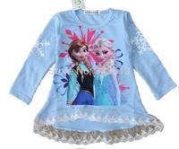 New 2014 Girls Frozen Long Sleeve T Shirt Girl Autumn 100%Cotton Peppa Pig T-shirt Baby & Kids Frozen Girl T Shirt