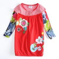 Spring Autumn Dress Nova Brand Children Girl Dress Dresses Flower Applique Baby Child Dress Clothing Casual Kids Wear H5432