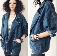 Free shipping 2014 new Europe and the United States to restore ancient ways neutral suit brought denim jacket jeans female coat