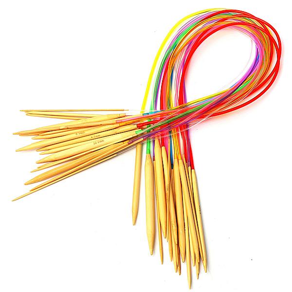 18Pcs 80cm Colorfully Plastic Tube Circular Bamboo Knitting Needles Needlework Craft Set(China (Mainland))