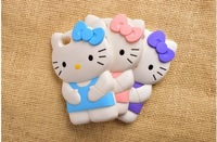 HOT SALE# 2015 3D Cute Hello Kitty Silicone Soft Case Covers For Iphone 5 5s