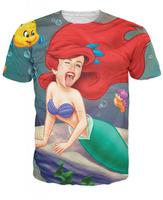 New Fashion Women Men 3D Brand Miley Cyrus The Little Twerkmaid T-Shirt mermaid princess Ariel T Shirts Tee Summer Tees