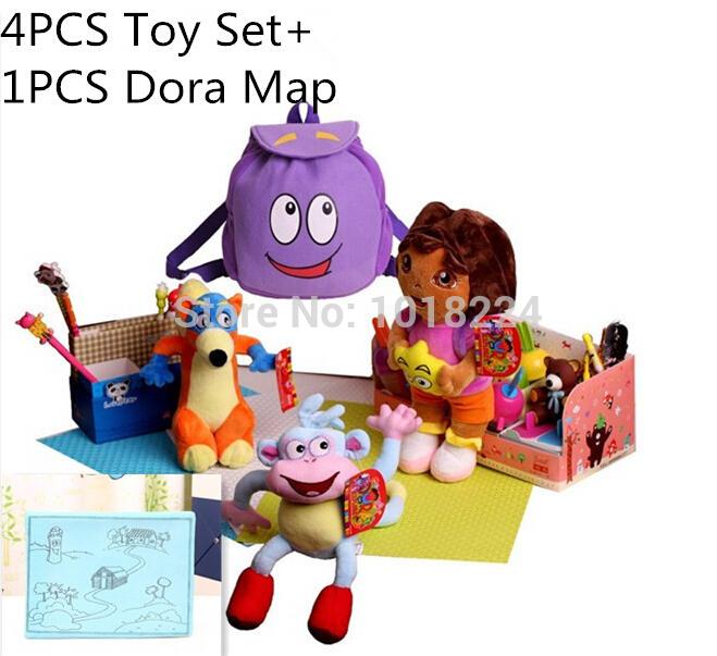 Nova comercinho ícone World-4PCS Dora brinquedos Set com Dora mapa Dora the Explorer Boots o macaco de boneca para crianças meninas de pelúcia Swiper Fox D(China (Mainland))
