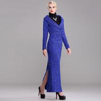 women new 2015 spring vintage british fashion super long x-long design slim fits plus size xl xxl xxxl 3xl female bodycon dress