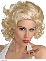 Blonde color Marilyn Monroe Deluxe Wig Cosplay Party synthetic wigs LC0168  short wigs sexy products Free shipping