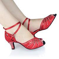 Customized Heels Women's Satin Upper Ankle Strap Ballroom / Latin Dance Shoes With Rhinestone JYG835