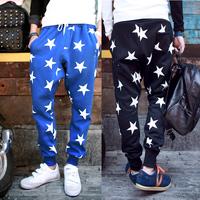 Free Shipping 2014 Tide Male Harem Pants Five Stars National Flag Sweatpants Marathon Joggers Colour Black Blue M-XXL
