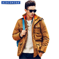 2014 male winter wadded jacket men's clothing casual plus size thickening cotton-padded jacket male thermal outerwear