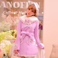 Princess sweet lolita coat  Candy rain original new winter Japanese style lavender Wool cloth warm thick coat CR01