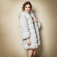 Fur Talk Genuine women's fox fur coat real natural fox fur jacket 80cm coat length