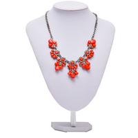 Hot sale#Fashion Bib Choker Necklace Fluorescence Yellow Colors Crystal Gem Flower Drop For Women Statement Necklace LACKINGONE