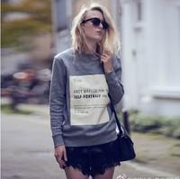 Hot selling women winter autumn long sleeve high end design letter sweatshirt grey high quality celebrity sweatshirt