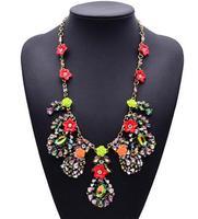 European New Arrival Fashion Famous za Gem Brand Multi Flower Crystal Clain Luxury Jewelry Necklace 9811
