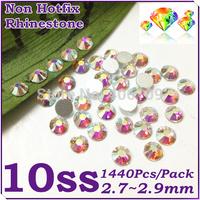 Super Shiny 1440PCS SS10 (2.7-2.9mm) Glitter Non Hotfix Crystal White AB Color 3D Nail Art Decorations Flatback Rhinestones