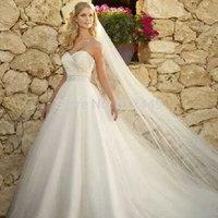 White Tulle Sweetheart Wedding Dresses vestido de noiva 2015 Fashion  Wedding Dress Elegant Crystal Ball Gown