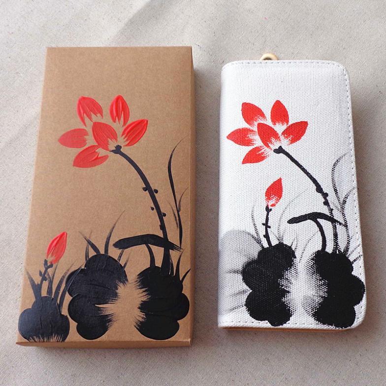 hairpin Ethnic hand-painted flowers women messenger bags chinese wallet designer handbags high quality gorjuss wallets(China (Mainland))