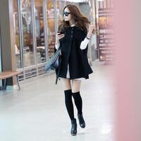 Women cloak overcoat woolen outerwear medium-long trench A12555