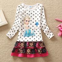 5pcs/lots Girls Casual Dresses New Frozen Costumes Princesa Cute Frozen Elsa Dresses Dot Long Sleeve Snow White Dress For Girls
