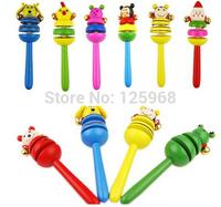 2015 New Baby Kid Rattles Colorful Wooden Cartoon Animal Maraca Jingle Musical Shaker Toy Free shipping & Drop shipping