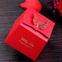 GAGA ! Free shipping  red Bronzing butterfly wedding chocolate box 200 pcs/lot ,CF34