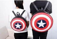 Free Shipping hot film Captain America backpack pu leather shoulder bag high school students backpack dropshipping