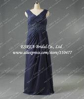 Real Fashion Cap Sleeve Pleat Chiffon Navy Blue Long Evening Dress Women Elegant With Appliqued Belt T1329