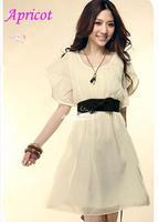 2014 Hot Fashion Women's Lady Short Sleeve Crew Neck Chiffon Dress Roll Wave spins free shipping 3568