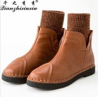 2014 women's genuine leather shoes fashion vintage women's shoes cowhide fashion shoes taojian flat heel women's shoes