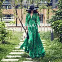 vintage print dress print chiffon V-neck Lantern sleeve ultra long expansion bottom maxi dress