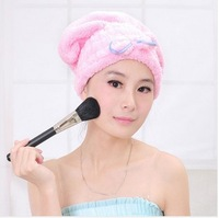 4 Colors Lovely Bowknot Coral Vevet Strong Water Absorption Hair Dry Shower Bath Caps/Hats
