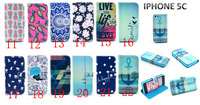 2015 New Free ship Card Slot with stand tiger Tribal Owl balloon Elephant pineapple tower Wallet Flip Leather Case for iPhone 5C