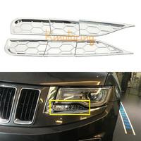 6pcs Car ABS Headlight Spray Cover Trims Auto Chrome Head Lamp Sprinkler Lid Spray Washer Cap Kit For 2014 Jeep Grand Cherokee