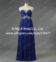 Beaded Sweetheart Stylish Empire Chiffon Long Blue Evening Dress Gowns Maxi for Lady T1359 Special Occasion Dresses