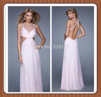 Evening Dress Ruffle Pink Beads Open Back Floor Length Sleeveless Chiffon 2014 New Arrival Evening Dresses