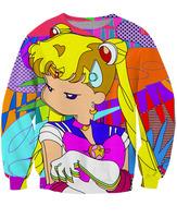 3D Fashion Unisex Sailor Moon Crewneck Sweatshirts Cartoon Sweats CREWNECKS pop art sweaters For Women and Men