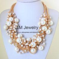 fashion jewelry for women 2014 tattoo pearl choker collar chunky colares femininos bib statement Necklaces & pendants LM-SC970